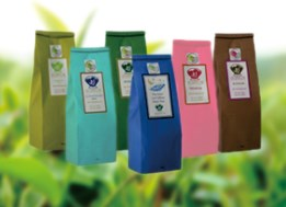 Tea bag in different colors (pink, blue, green, black, red)